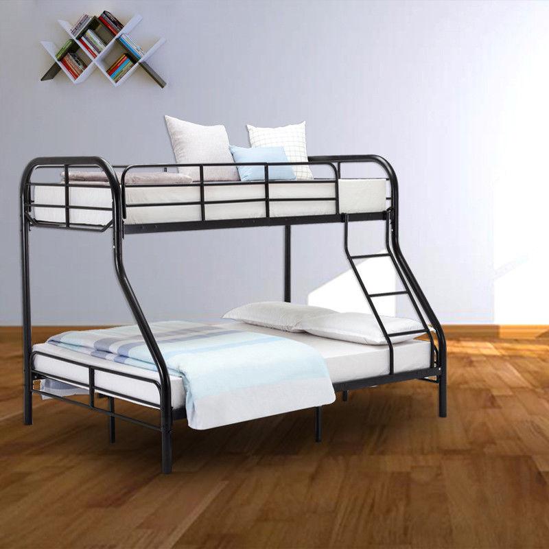 Metal Bunk Bed Twin Over Full Ladder Kids Teen Dorm Loft Bedroom