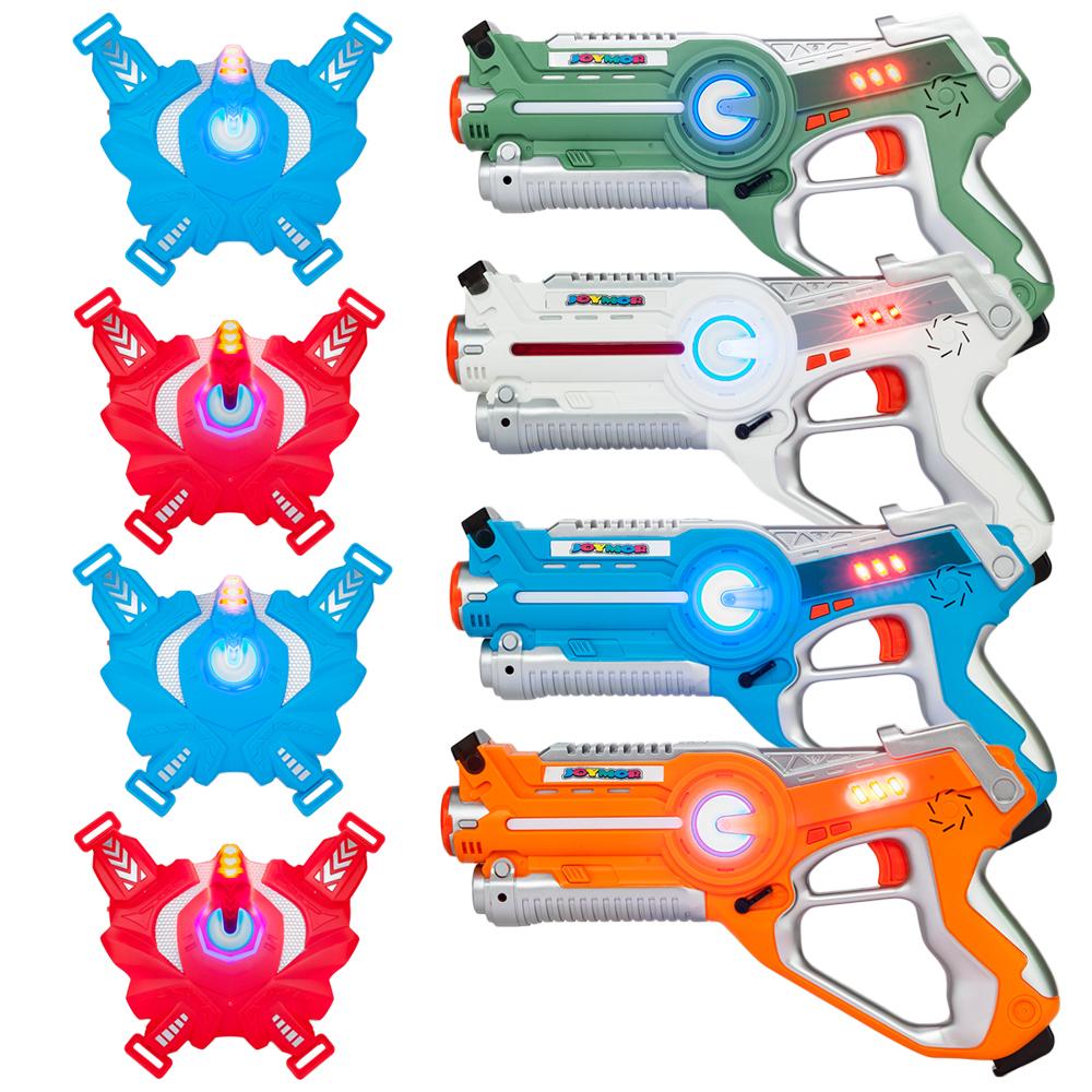 Details about 4 Pack Infrared Laser Tag Guns Vests Blasters Set,Best Toy  for kids, Multiplayer
