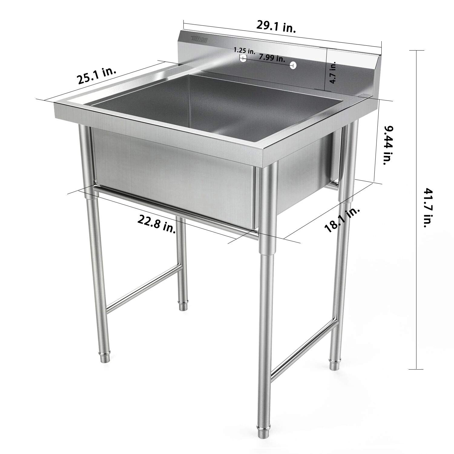 """30"""" stainless steel utility commercial square kitchen sink"""