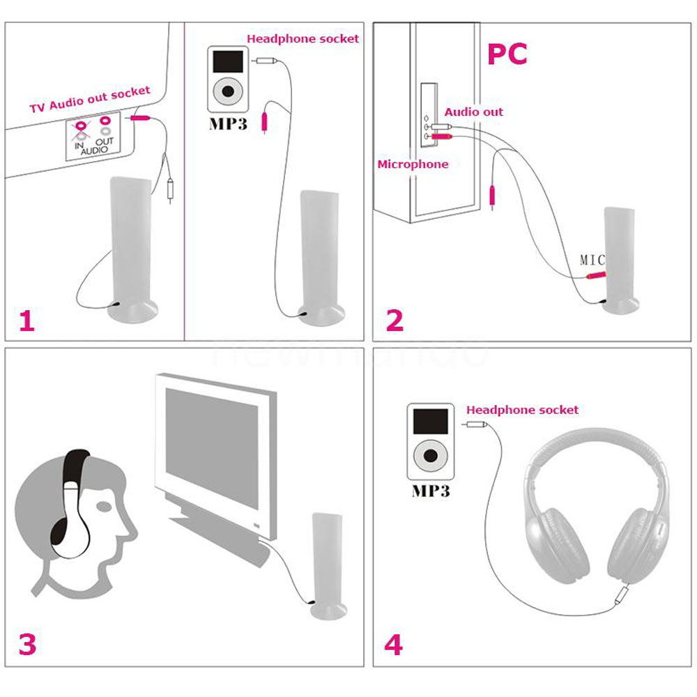 5x New 5 In 1 Wireless Headphone For Pc Mp3 Fm Radio Vcd Player Schematics Transmitters Tv Stereo Transmitter