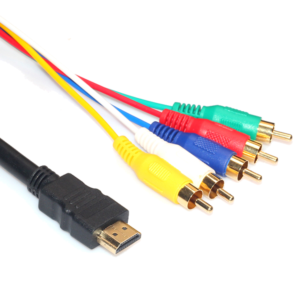 hot 5ft hdmi male to 5 rca av audio video rgb component cable for hdtv dvd 1080p ebay. Black Bedroom Furniture Sets. Home Design Ideas