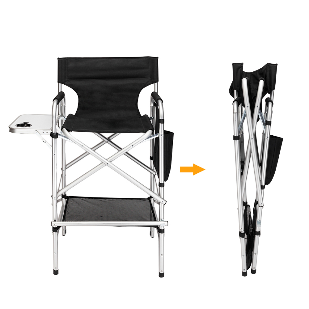 Folding Directors Chair With Side Table.Details About Lightweight Tall Folding Directors Chair Foldable Makeup Chair With Side Table