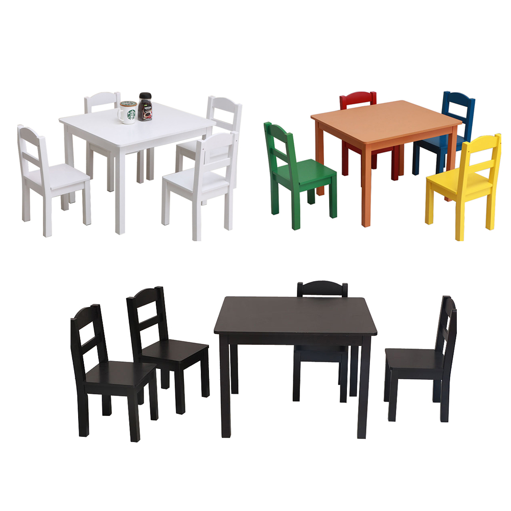 Incredible Details About 5 Piece Kids Set Glass Wood Table 4 Chairs Kitchen Dining Room Furniture 3 Color Machost Co Dining Chair Design Ideas Machostcouk
