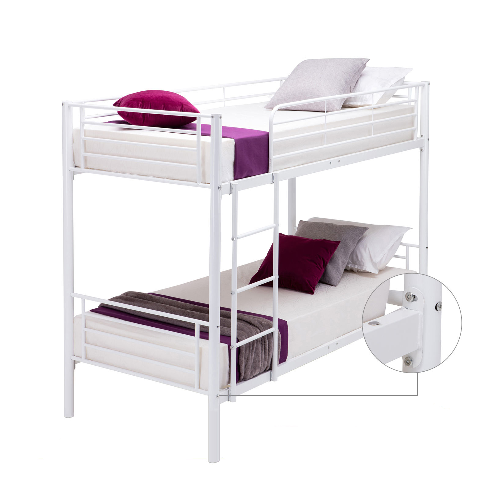Metal Twin over Twin Bunk Beds Frame Ladder for Kids Adult Children ...