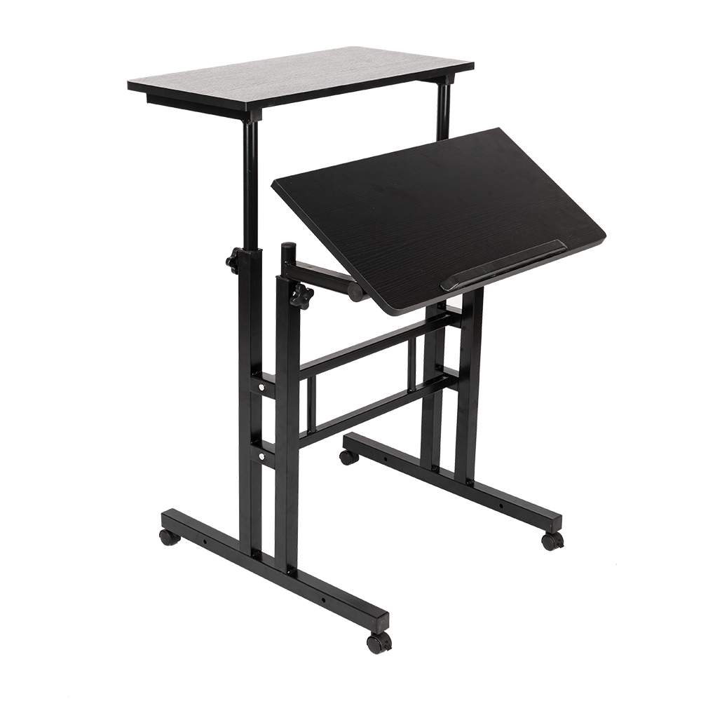 Metal mobile computer desk height adjustable stand up desk standing workstation