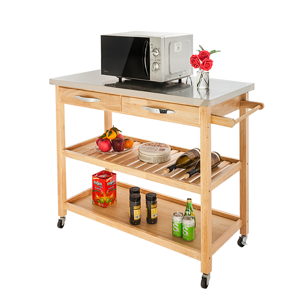 Details About Stainless Steel Top Kitchen Trolley Cart Food Storage Hotel Rolling Utility