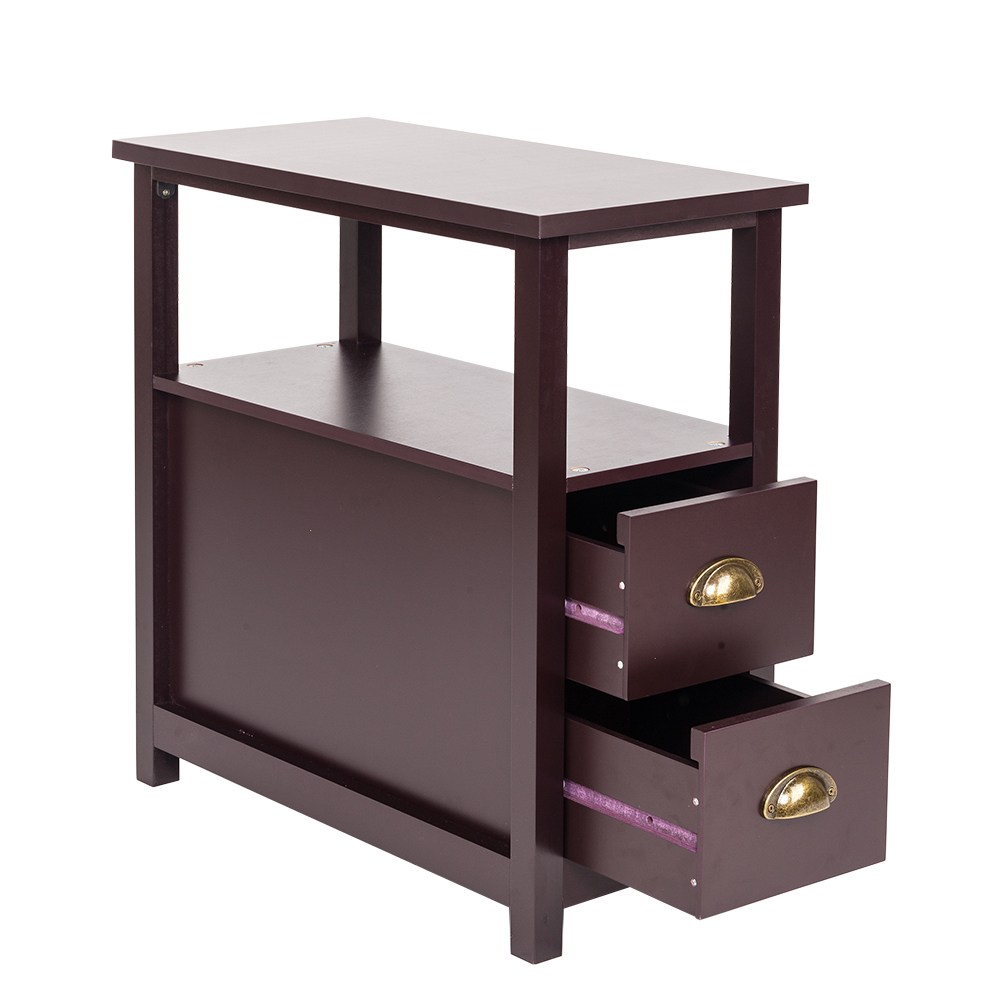 Chair side end tables home living room furniture drawers - Narrow side tables for living room ...