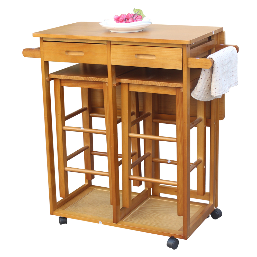 Details about Kitchen Rolling Island Cart Trolley Dining Storage Cabinet  Sideboard on Wheels