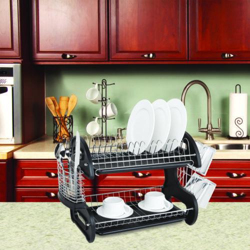 New Home Basics 2 Tier Black Dish Drainer Drying Rack Washing