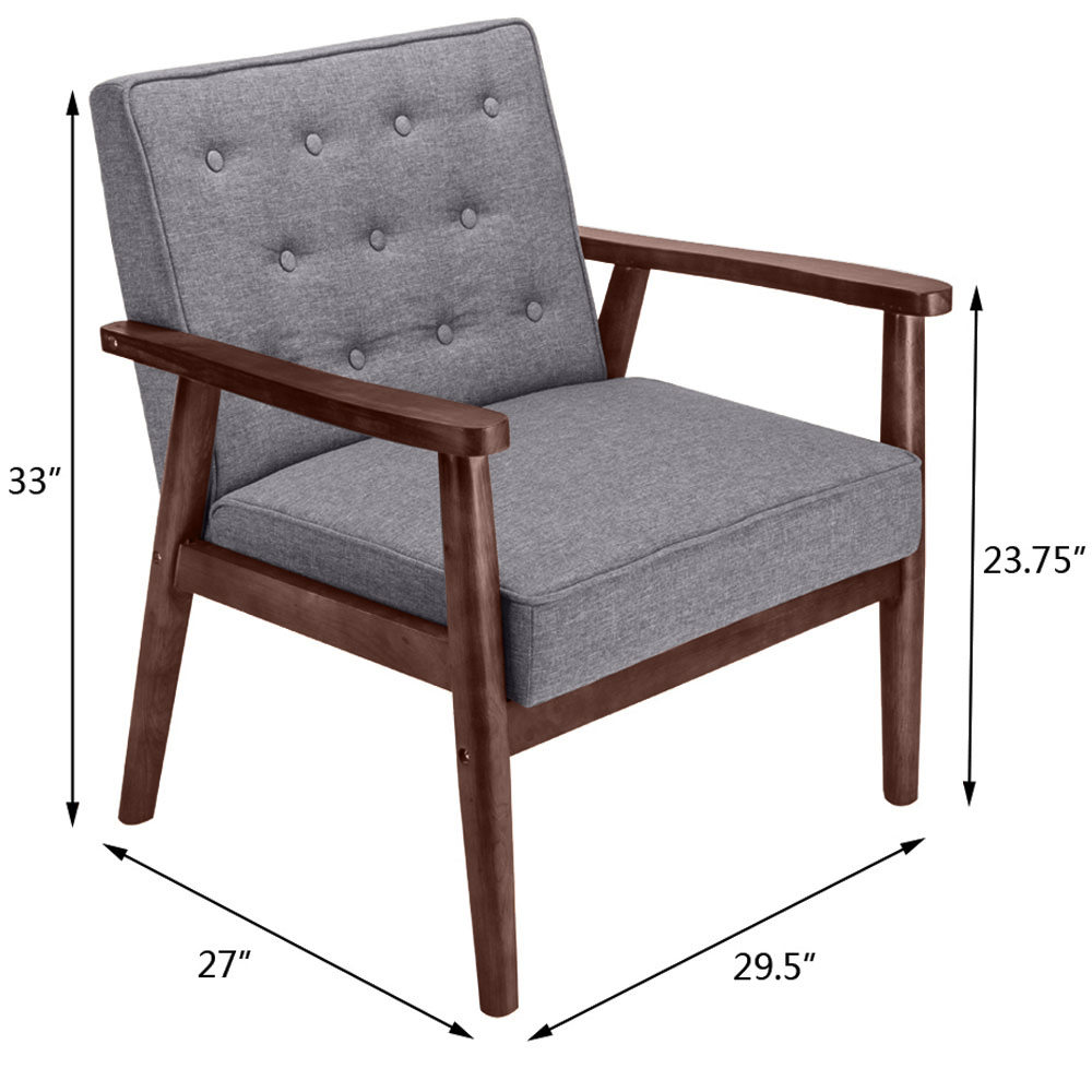 High Quality Modern Fabric Upholstered Wooden Lounge Chair Home Furniture Grey  sc 1 st  eBay & High Quality Modern Fabric Upholstered Wooden Lounge Chair Home ...