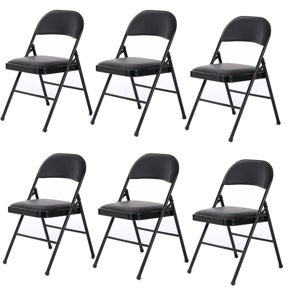 6 Pack Folding Chairs Fabric Upholstered Padded Seat Metal