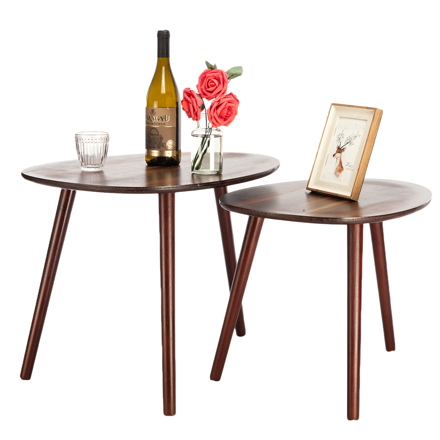 Set Of 2 Nesting Tables Stacking Coffee Side End For Living Room