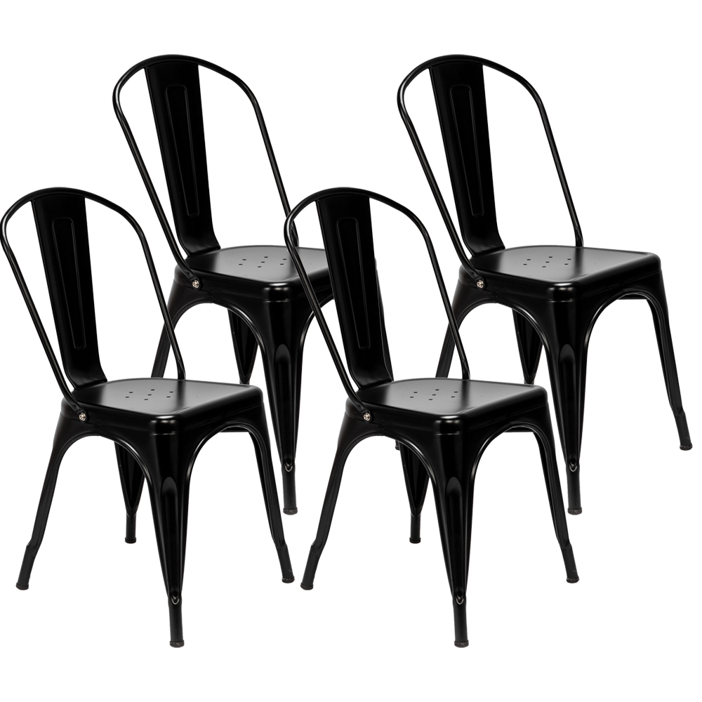 Remarkable Details About 4Pcs Industrial Style Dining Side Chair Arm Chairs Stackable Metal Stool Black Gmtry Best Dining Table And Chair Ideas Images Gmtryco
