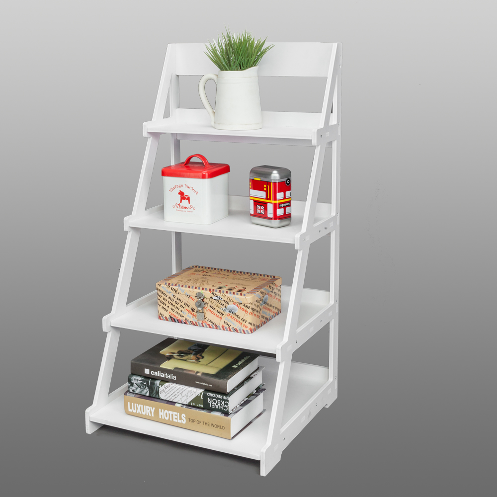 Home Hard-Working Bookshelf 4 Tiers Storage Shelf Unit Bookshelf Bookcase Book Storage Display Rack