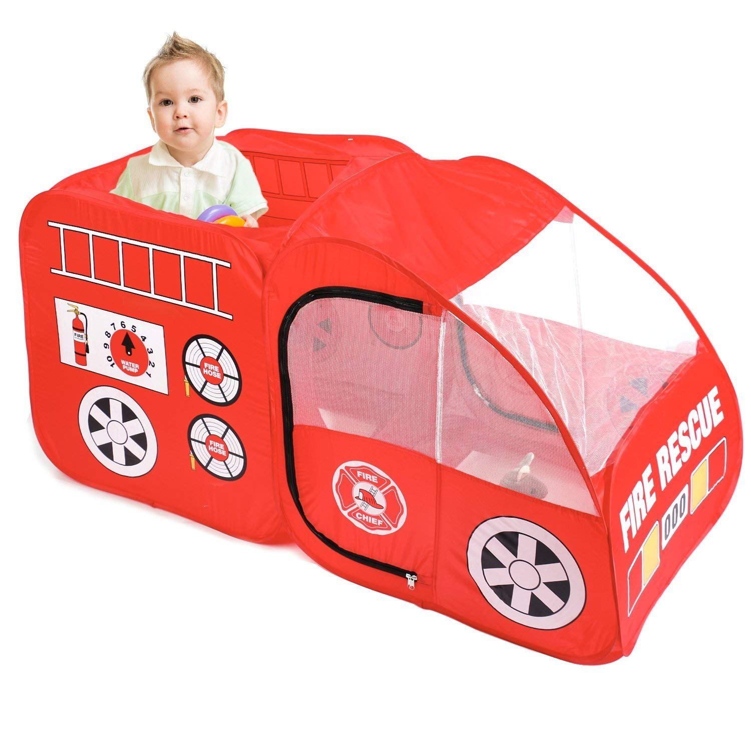 online store e58e7 6db15 Details about Fire Engine Truck Pop Up Play Tent Foldable Indoor/Outdoor  Playhouse for Kids