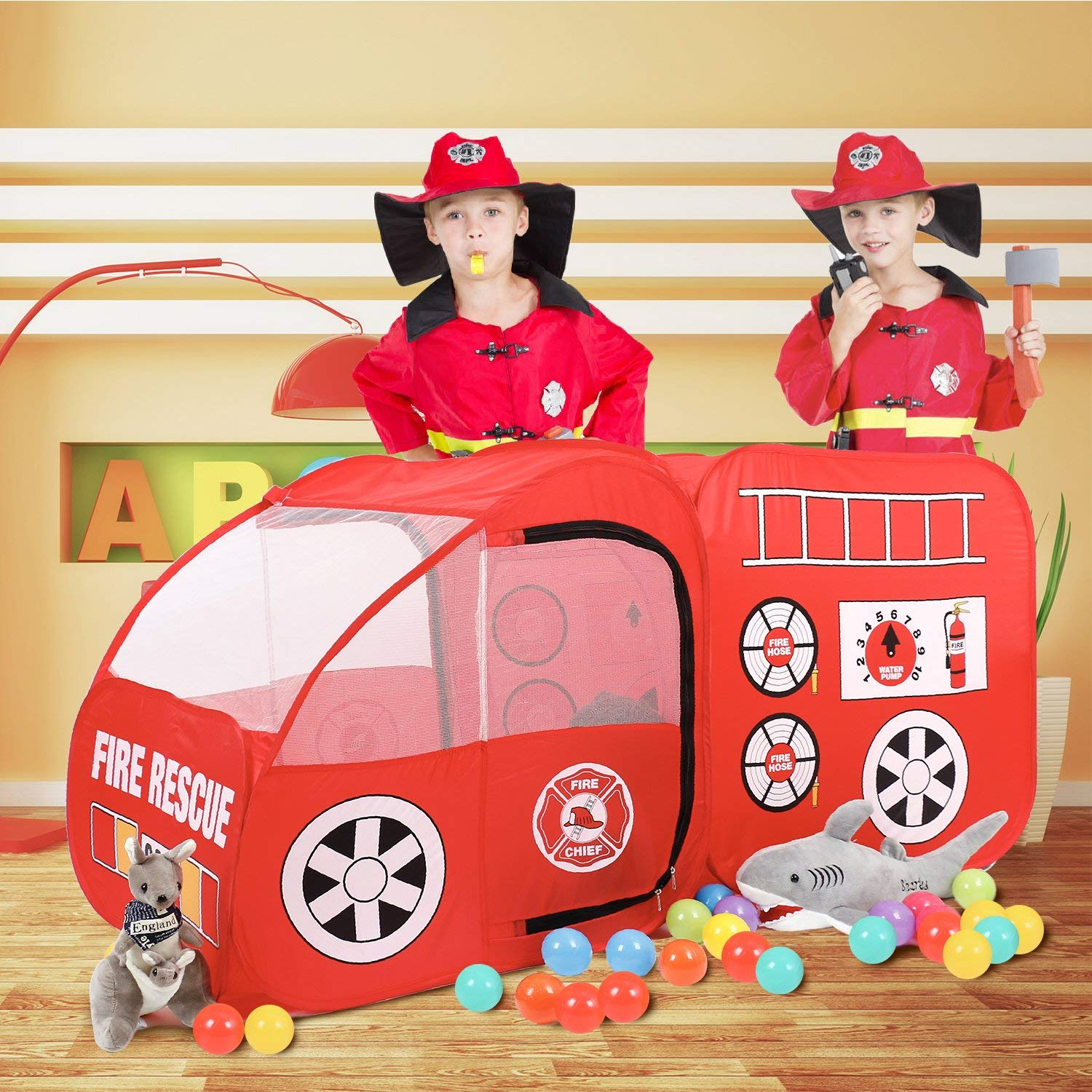 Fire Engine Truck Pop Up Play Tent Foldable Indoor Outdoor