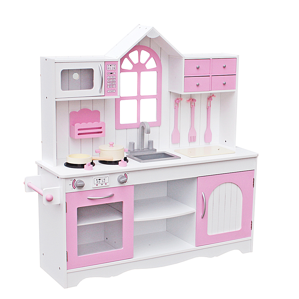 Kids Play Kitchen Wood: Wooden Kids Kitchen Toys Pretend Play Children Role Play