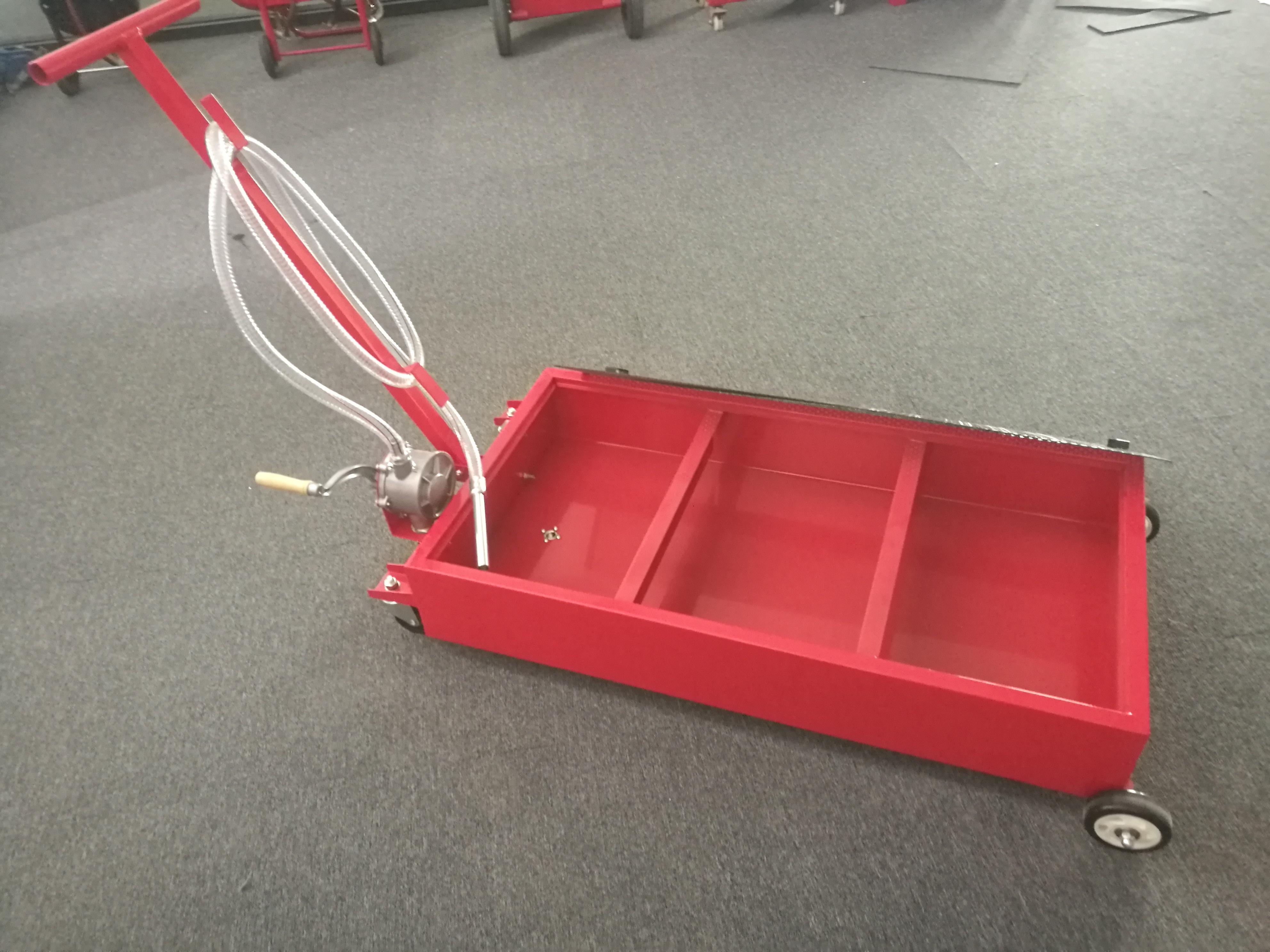 Portable 20 Gallon Oil Drain Pan Low Profile Dolly W Pump