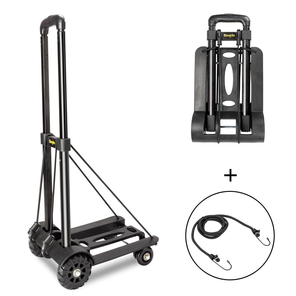 68167ac4dd41 Folding Hand Cart Dolly Fold Up Luggage Truck Moving Cart Black w/4 ...