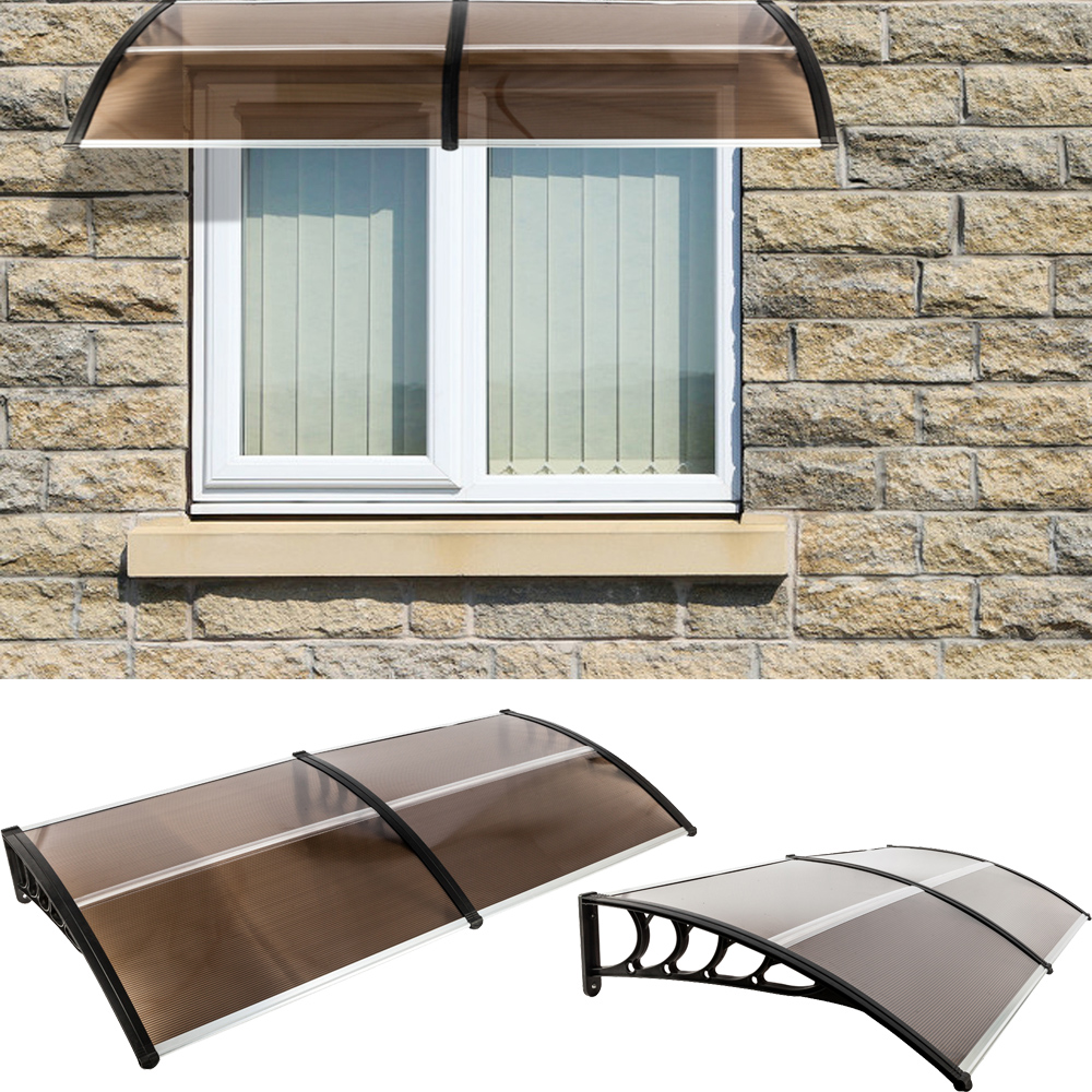 Details About Diy 40 X 80 Outdoor Polycarbonate Front Door Window Awning Patio Canopy Brown