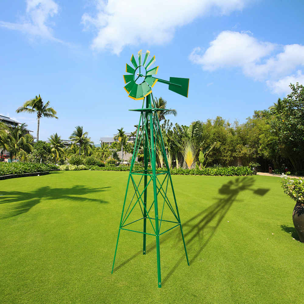 Merveilleux Details About 8ft Outdoor Metal Windmill Yard Garden Decoration Wind Mill  Green