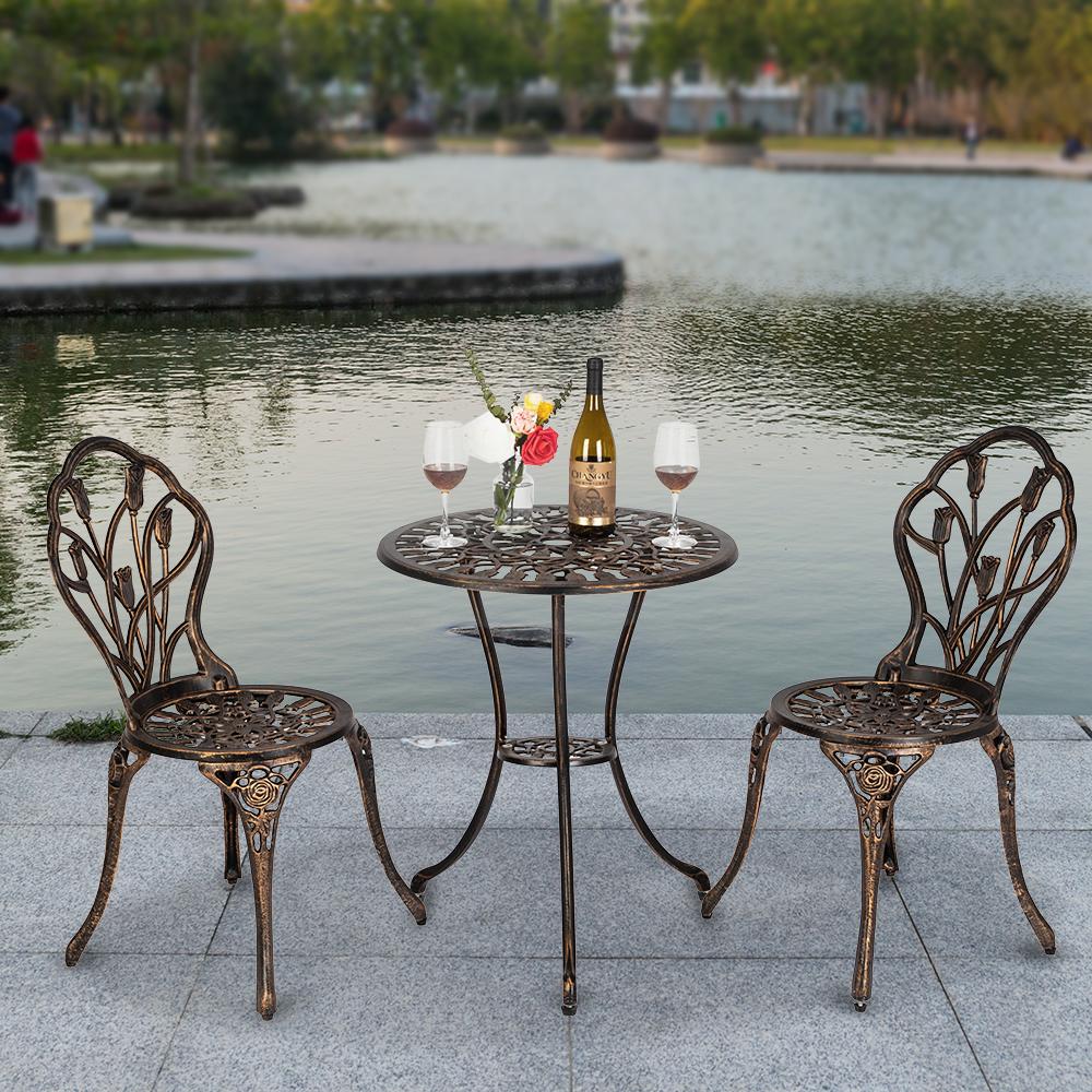 3pc Cast Aluminum Patio Furniture Tulip Design Bistro Set Antique