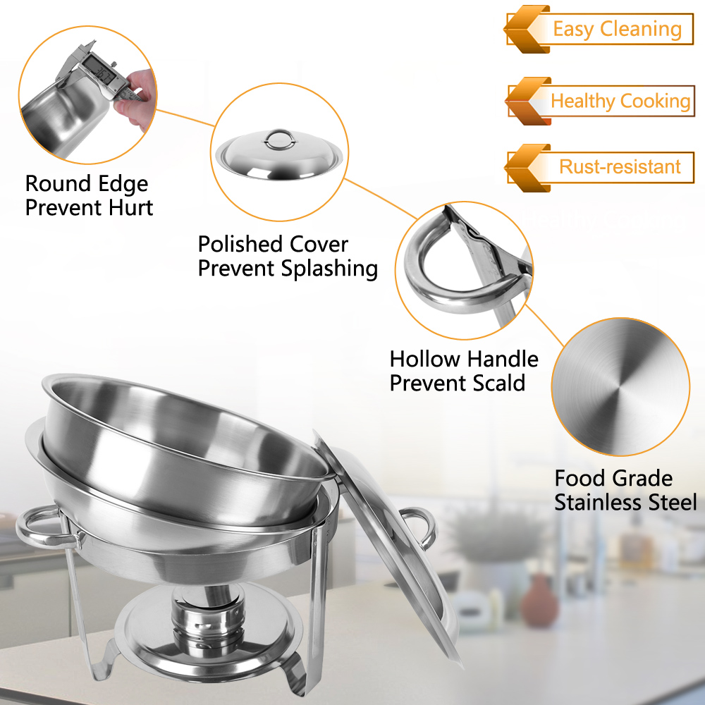 2 Pack Round Chafing Dish Buffet Chafer Set 5 Quart Stainless Steel Christmas US