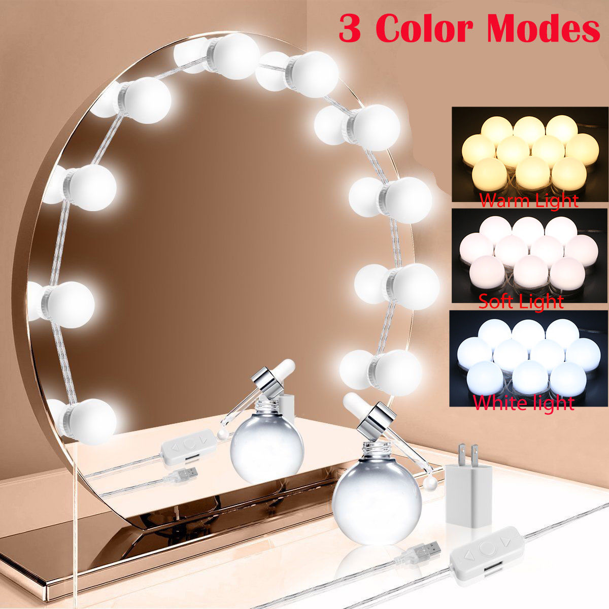 Details About Makeup Mirror Vanity 10 Led Light Bulbs Lamp Kit 3 Levels Adjustable Lighted