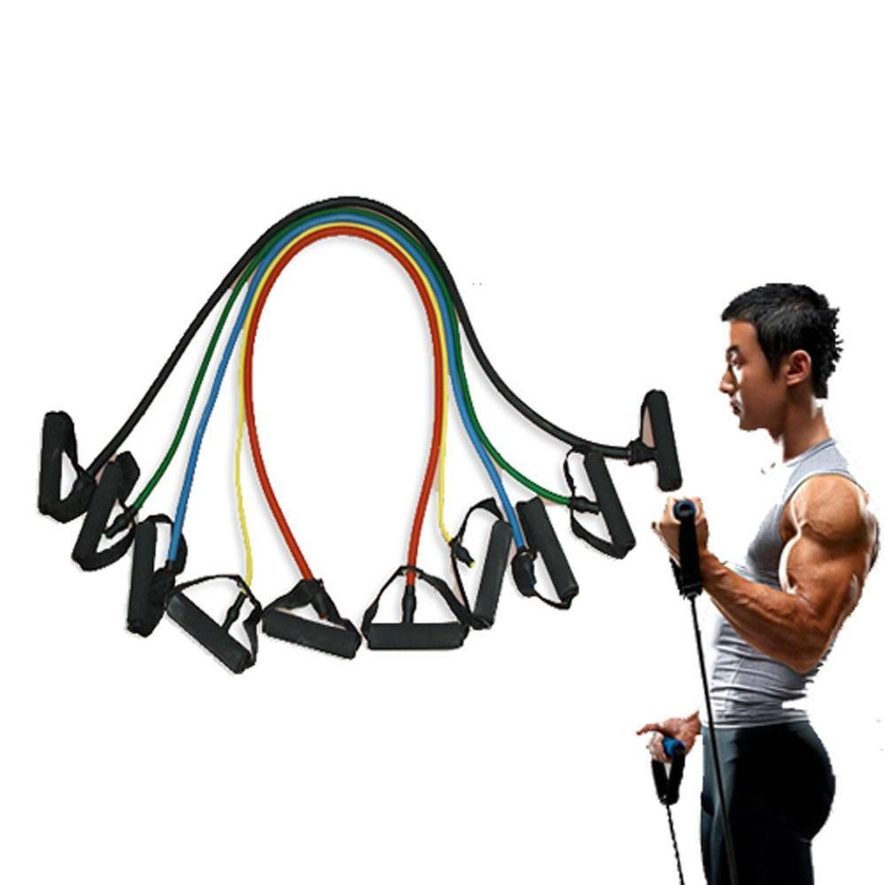 Workout Bands Com: 5 Pieces Resistance Bands Set Home Fitness Workout Bands