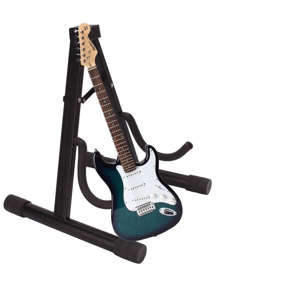 new black a type frame electric folding guitar bass stand musical instruments ebay. Black Bedroom Furniture Sets. Home Design Ideas