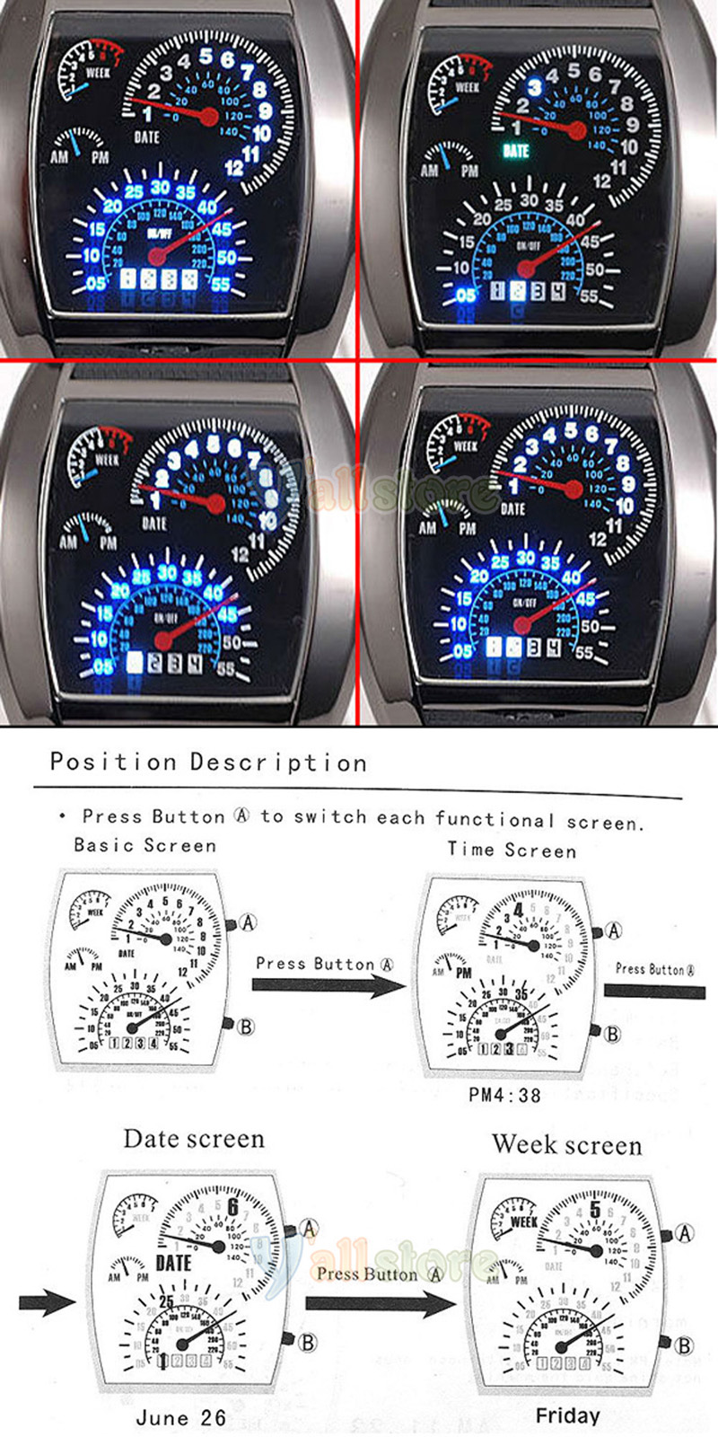New Sports Rpm Turbo Blue Flash Led Car Speedometer Meter