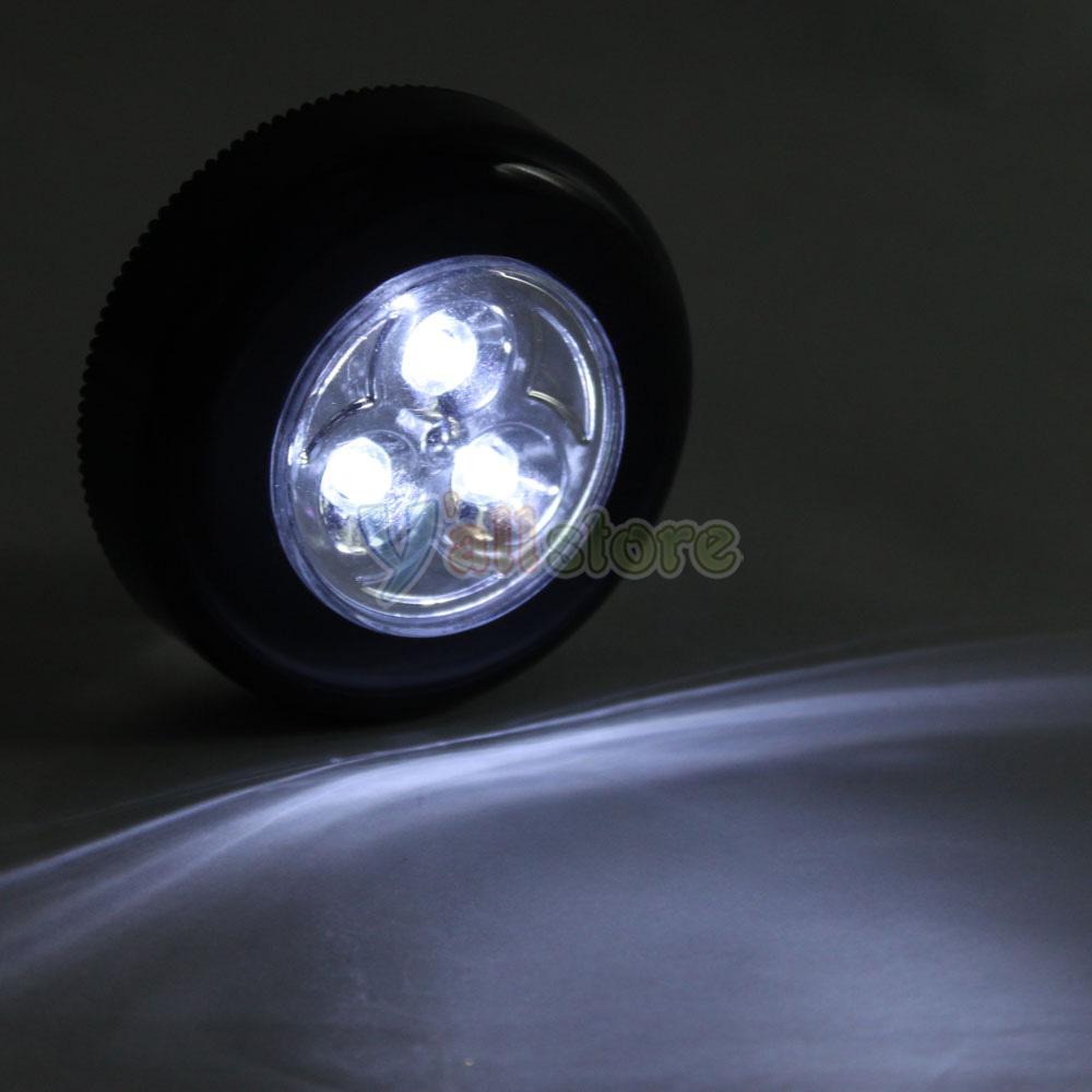 2PCS Mini 3 LED Touch Light Night Lamp Batteries Powered