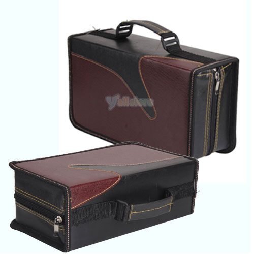 new portable 128 disc cd vcd dvd storage bag wallet holder case box black red